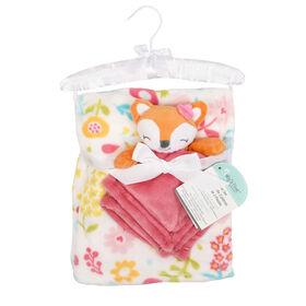 Baby's First By Nemcor 2 Piece Set- Fox with Flower Design Blanket