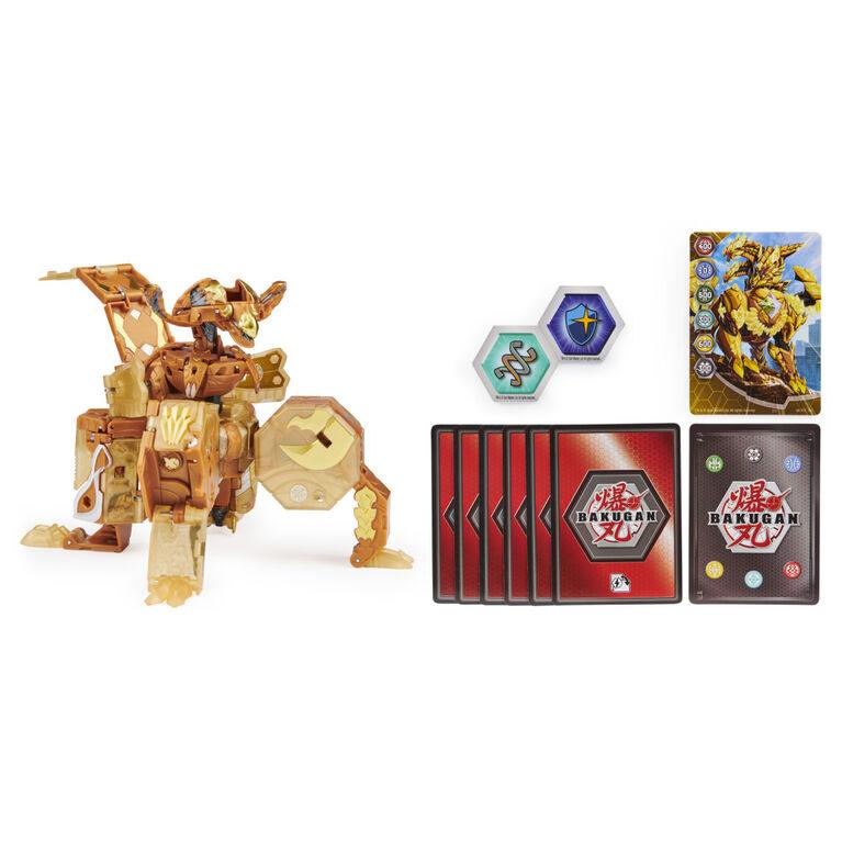 Bakugan, Ultimate Viloch, Bakugan exclusif 7 en 1, avec BakuCores et cartes à collectionner, figurine articulée Geogan Rising à collectionner