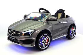 Porteur à batterie Mercedes Benz CLA45 de 12 V de Moderno Kids – Gris métallique.