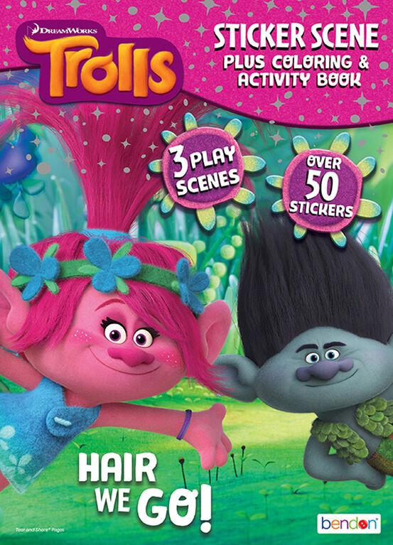 Livre de coloriage, d'activités et de décors pour autocollants de 24pages - Les Trolls