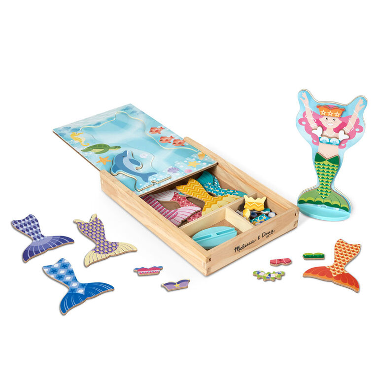 Melissa & Doug Mermaid & Dolphin Magnetic Dress-Up Wooden Dolls Pretend Play Set (35 pcs)