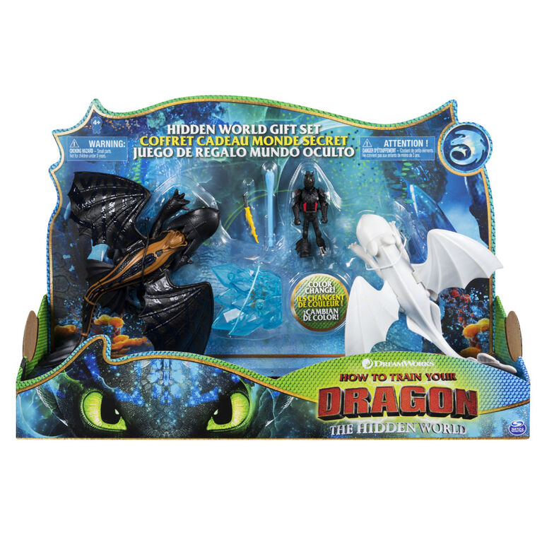 How To Train Your Dragon - Toothless and Lightfury Dragons and Viking Figure with Crystal Accessory - R Exclusive