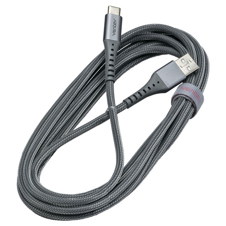 Ventev 557645 Charge/Sync Alloy Cable USB-C 10ft Steel Grey