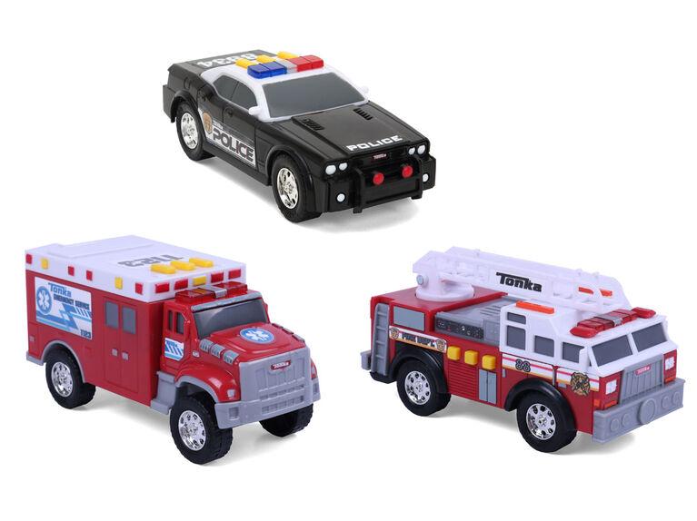 Tonka Mini 3 Pk - Fire Ladder Trcuck / Police cruiser / Ambulance