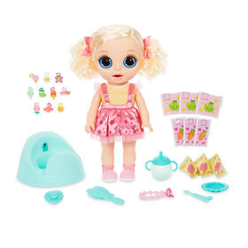 Poupée BABY born Surprise Magic Potty Surprise avec yeux bleus: la poupée fait un pipi scintillant et ses crottes sont des breloques surprises