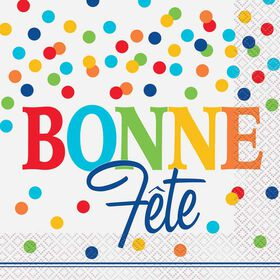 Polka Dots Bonne Fete Lunch Napkins 16 pieces - French Edition