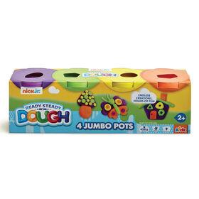 Ensemble de 4 pots Jumbo de pâte à modeler Nick Jr Ready Steady Dough - couleurs vives