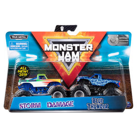 Monster Jam, Official Blue Thunder vs. Storm Damage, 1:64 Scale, 2 Pack