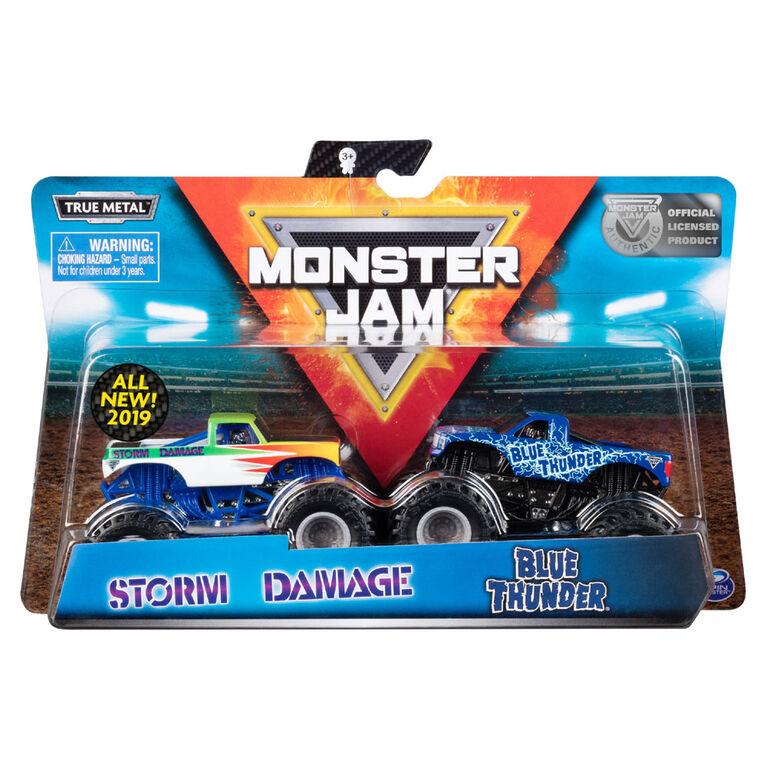 Monster Jam, Official Blue Thunder vs. Storm Damage, 1:64 Scale, 2 Pack