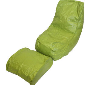 Boscoman - Vinyl Bean Bag Lounger w/Footrest - Green