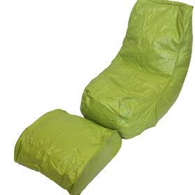 Boscoman - Fauteuil poire en vinyle avec repose-pieds - vert