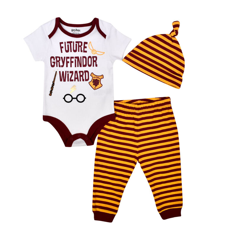 Warner's Harry Potter 3 piece Pant, Bodysuit and Hat Set - White, 24 Months
