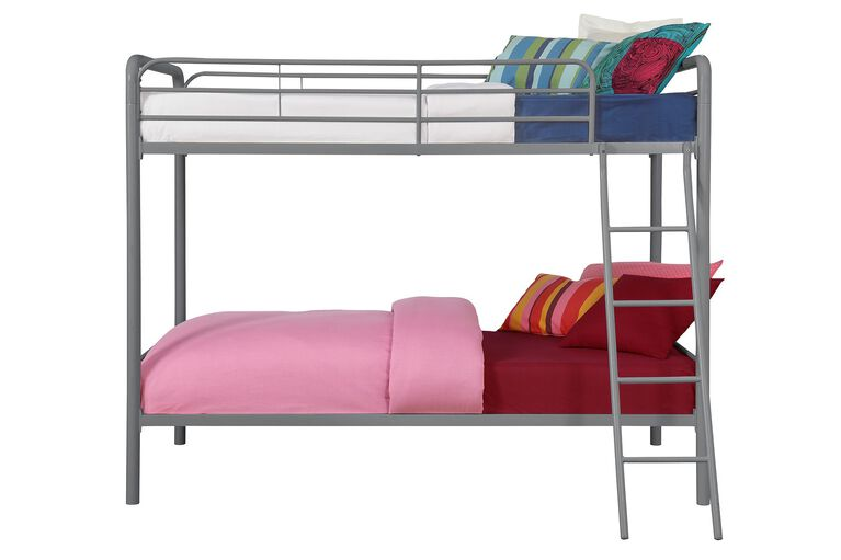 DHP Twin over Twin Bunk Bed –  Silver