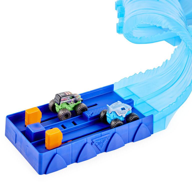 Monster Jam, Mini Megalodon Race and Chomp Playset with 2 Monster Jam Mini Trucks in 1:87 scale