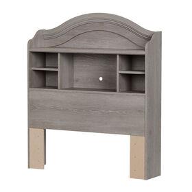 Savannah Bookcase Headboard with Storage- Sand Oak