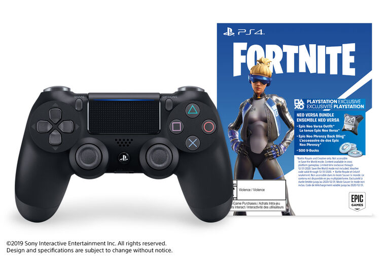 PlayStation 4 Dual Shock Controller Black Fortnite Bonus