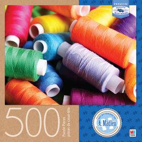 Artiste : A. Madlen - Casse-tête de 500 pièces - Bobines de fils colorées.