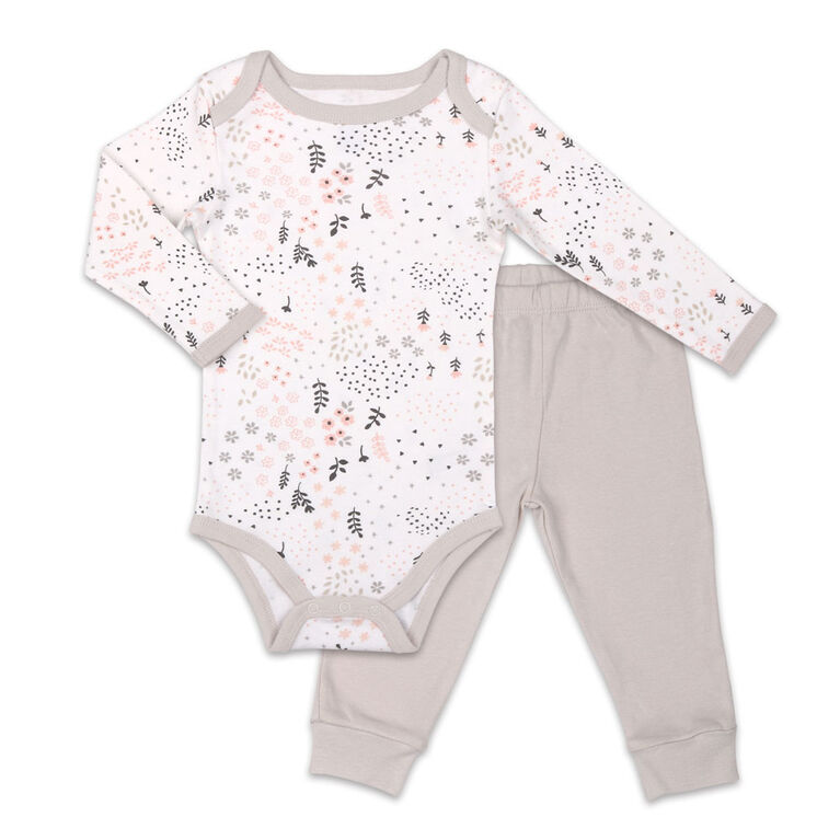 Koala Baby Bodysuit and Pant Set, Floral Print with Grey Pants - 3-6 Months