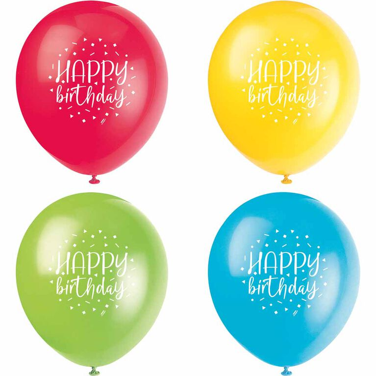 "Balloon Party Bday 12"" Latex Balloons, 8 pieces - English Edition"