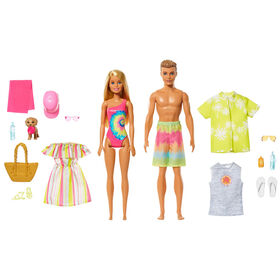 Barbie Gift Set with Convertible Car, Pool, Barbie Doll and Ken Doll in Swimwear