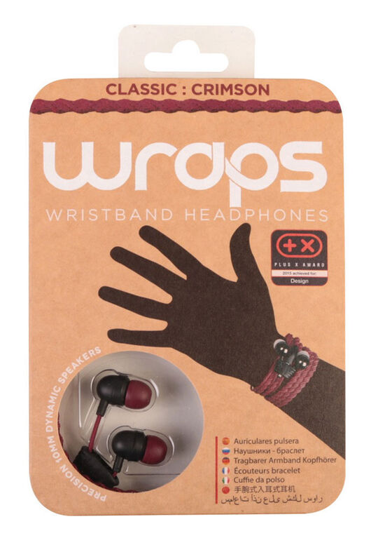 WRAPS - Classic Crimson - Wristband Headphones with Anti-Tangle Storage, and a Crimson Braided Fabric Cable