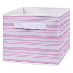 Pink Stripe Canvas Storage Bin