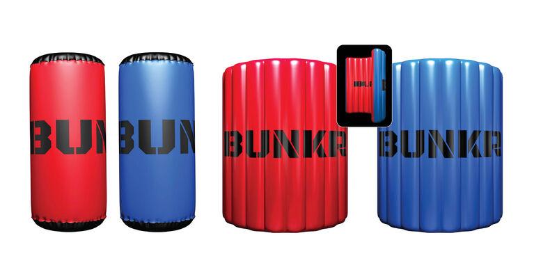Bunkr Battlezones Emballage Competition - Rouge Vs Bleu  - Terrain De Jeu Gonfable - 4 Pièces