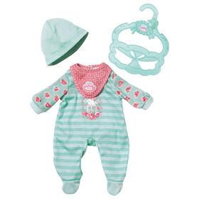 Petite tenue douillette aux motifs de Baby Annabell de 36 cm : Vert - Notre exclusivité