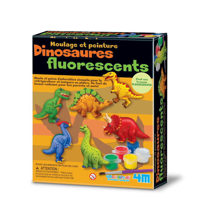 4M Mould & Paint Glow Dinos - French Edition