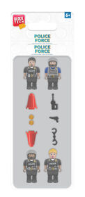 Block Tech - Police Force 4 Minifigs (Mini Figures) and Accessories