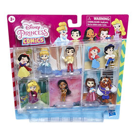 Disney Princess Comics Dolls, Glitter Pack with Cinderella, Prince Charming, Belle, Aurora, and Pocahontas - R Exclusive