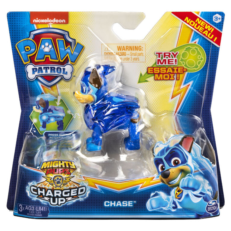 PAW Patrol, Mighty Pups Charged Up Chase Collectible Figure with Light Up Uniform