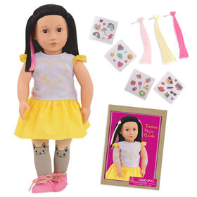 "Our Generation, Aisha ""Ready To Glow"", 18-inch Deco Doll with Glow-in-the-Dark Tattoos"