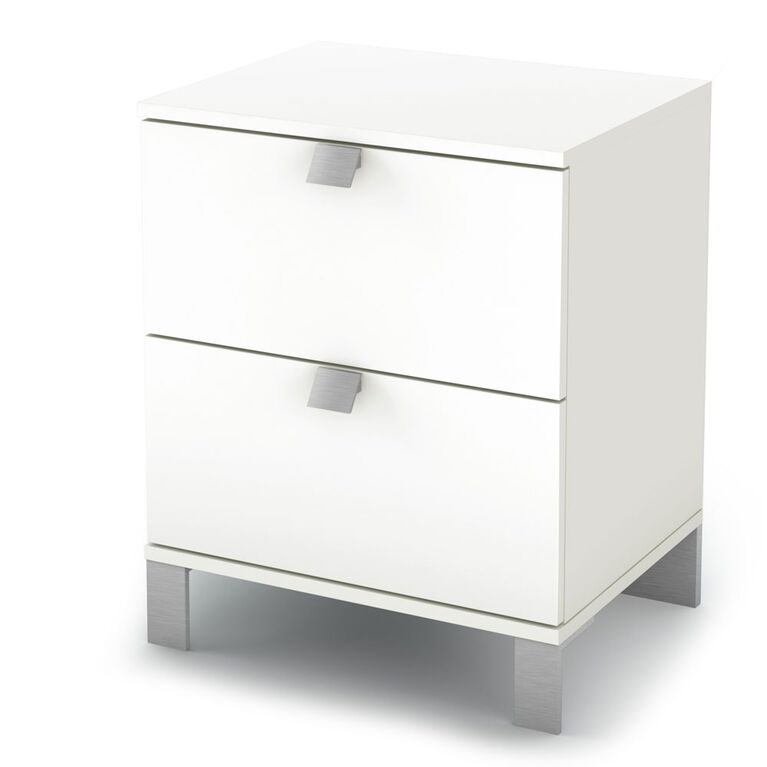 Spark 2-Drawer Nightstand - End Table with Storage- Pure White