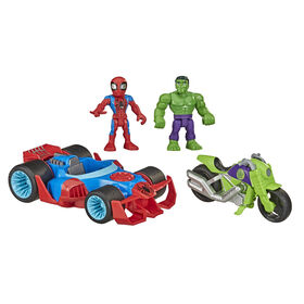 Playskool Heroes Marvel - Super Hero Adventures 5-Inch Action Figure Toy Action Racers, With Hulk, Spider-Man and 2 Vehicles - R Exclusive