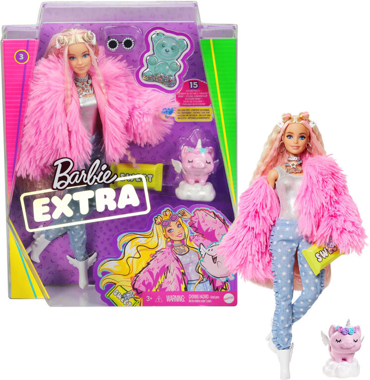 Barbie Extra Doll in Pink Coat with Pet Unicorn-Pig