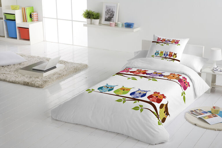 Gouchee Design - Buhos Digital Print Twin Duvet Cover Set - Owls On Branch