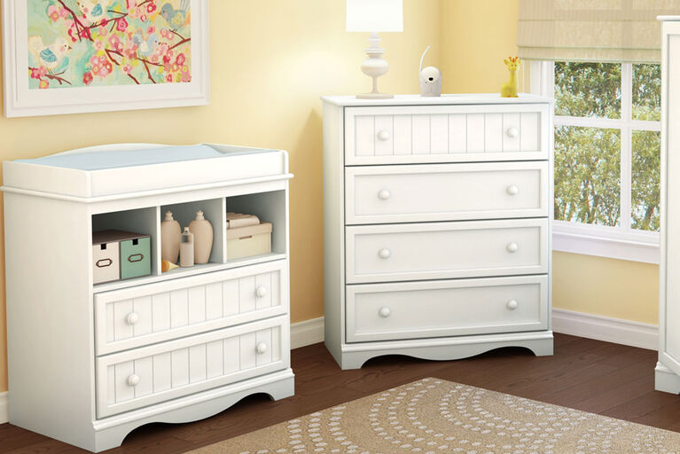 Savannah Commode 4 tiroirs- Blanc solide