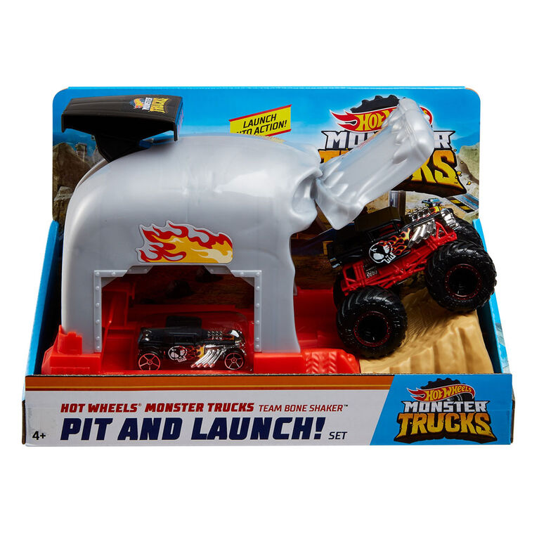 Hot Wheels - Monster Trucks - Coffret de jeu Puits et lancement - Bone Shaker