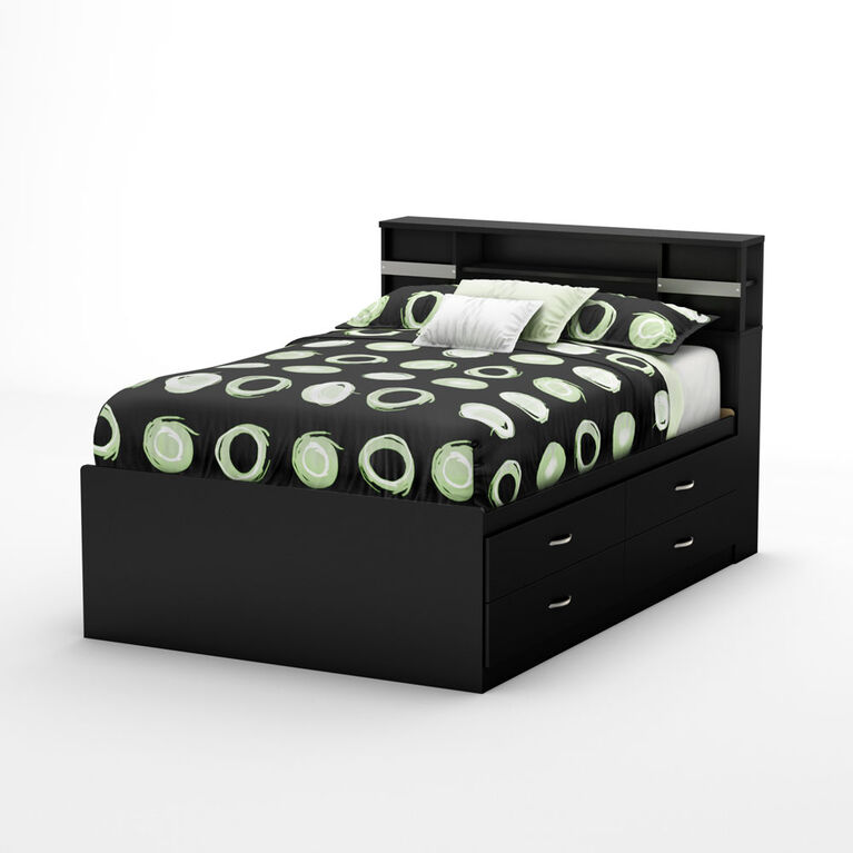 Step One Captain Platform Storage Bed with 4 Drawers- Pure Black