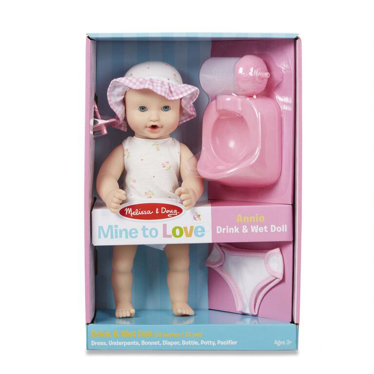 Melissa & Doug Mine to Love Annie Boisson 12 pouces et poupée bébé mouillable