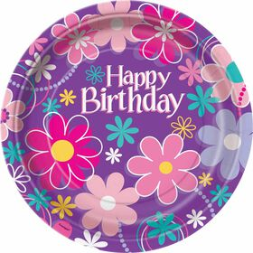 "Birthday Blossoms  9""  Plates, 8 pieces - English Edition"