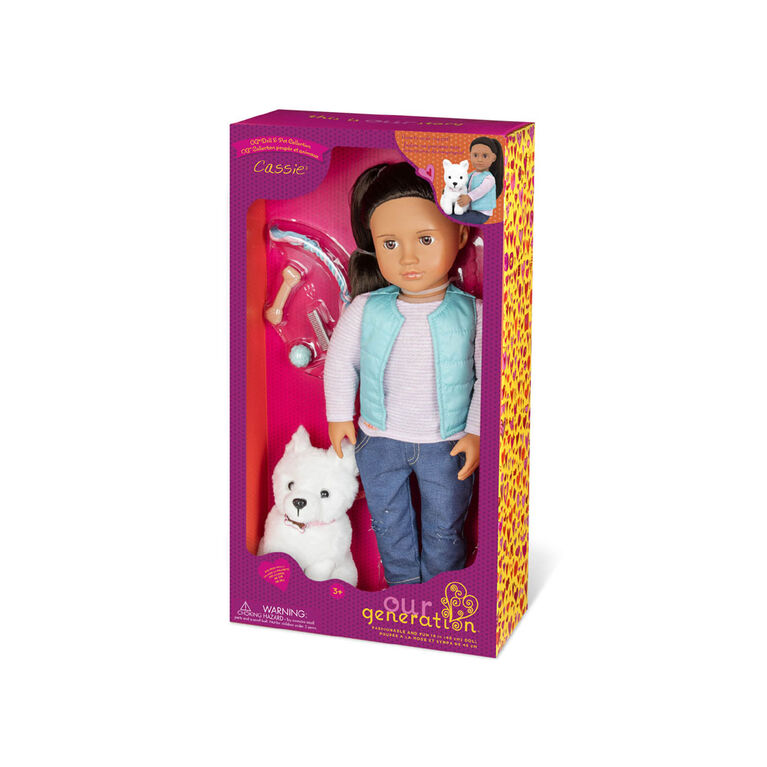 Our Generation, Cassie, 18-inch Doll & Pet Set