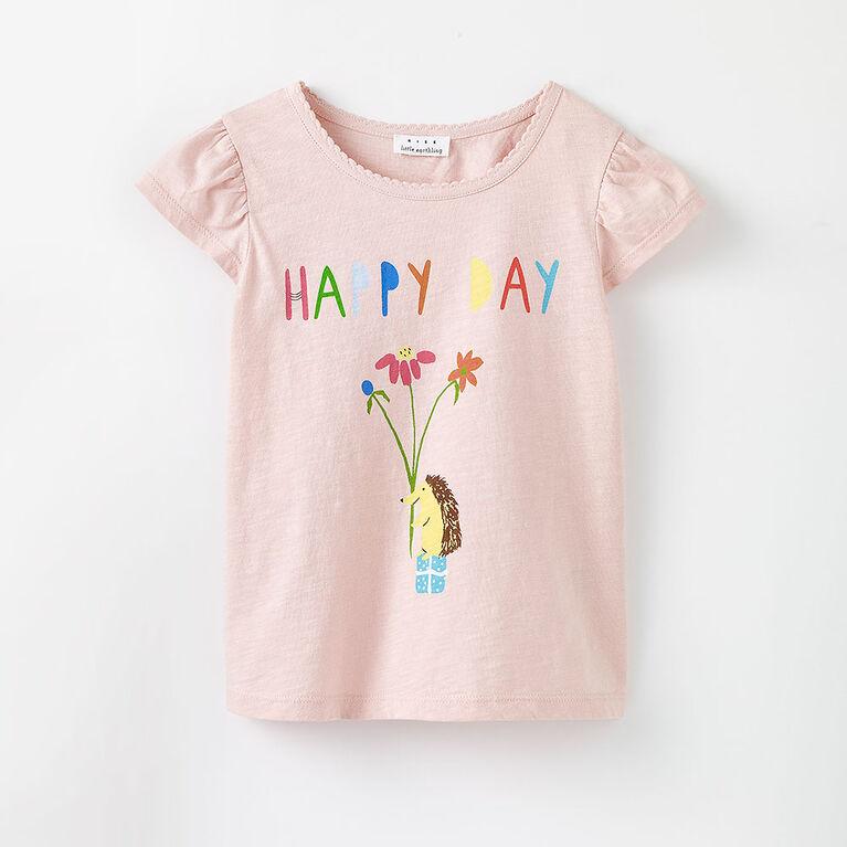 3-4 ans t-shirt à manches volantées - imprimé rose pâle