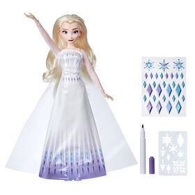 Disney's Frozen 2 Design-a-Dress Elsa Fashion Doll With Stickers, Marker, and Stencil