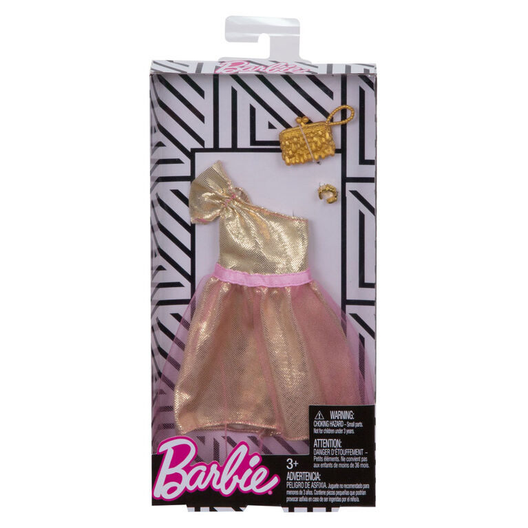 Barbie Complete Looks Gold and Pink Party Dress