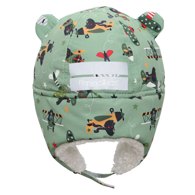 FlapJackKids - Baby, Toddler, Kids, Boys - Water Repellent Trapper Hat - Sherpa Lining - Black Bear/Green- Large 4-6 years