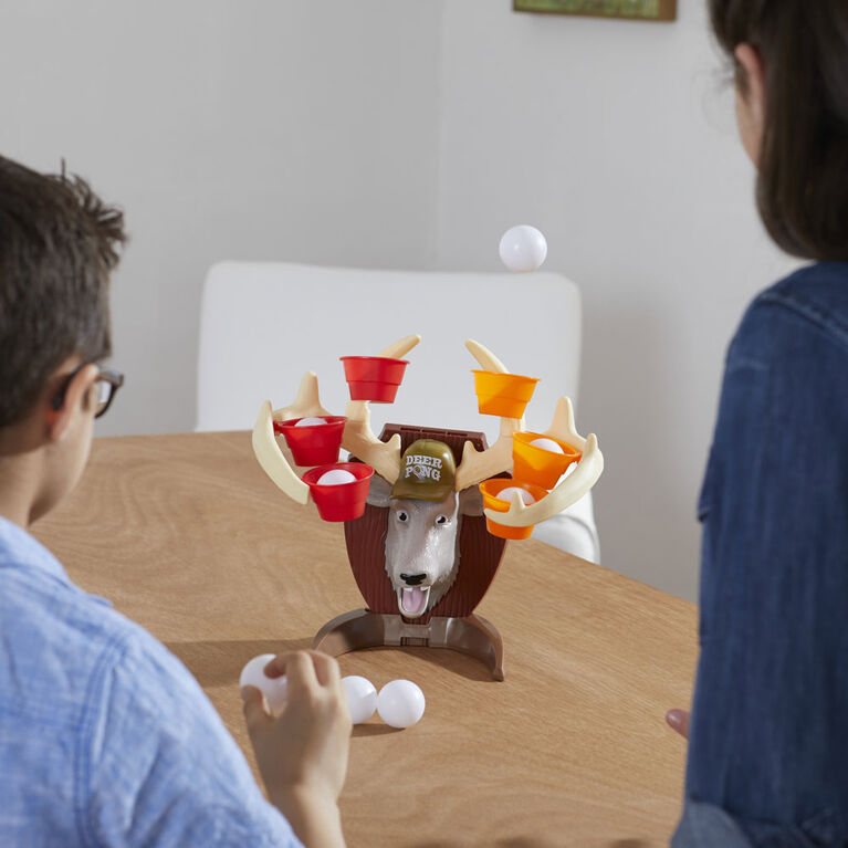 Deer Pong Game, Features Talking Deer Head and Music, Includes 6 Party Cups And 6 Balls - English Edition