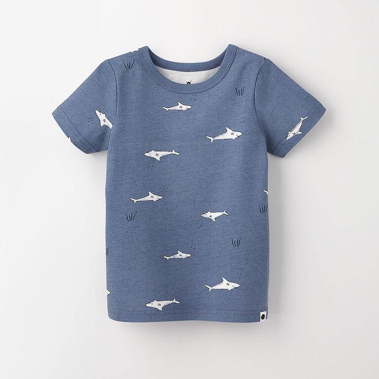 12-18m t-shirt imprimé à manches courtes - ciel