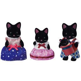 Calico Critters Midnight Cat Family, lot de 4 figurines de poupée à collectionner